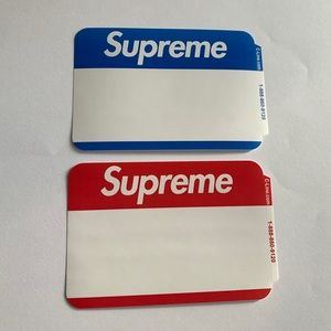 Lot of 2: Supreme Name Badge Stickers FW20